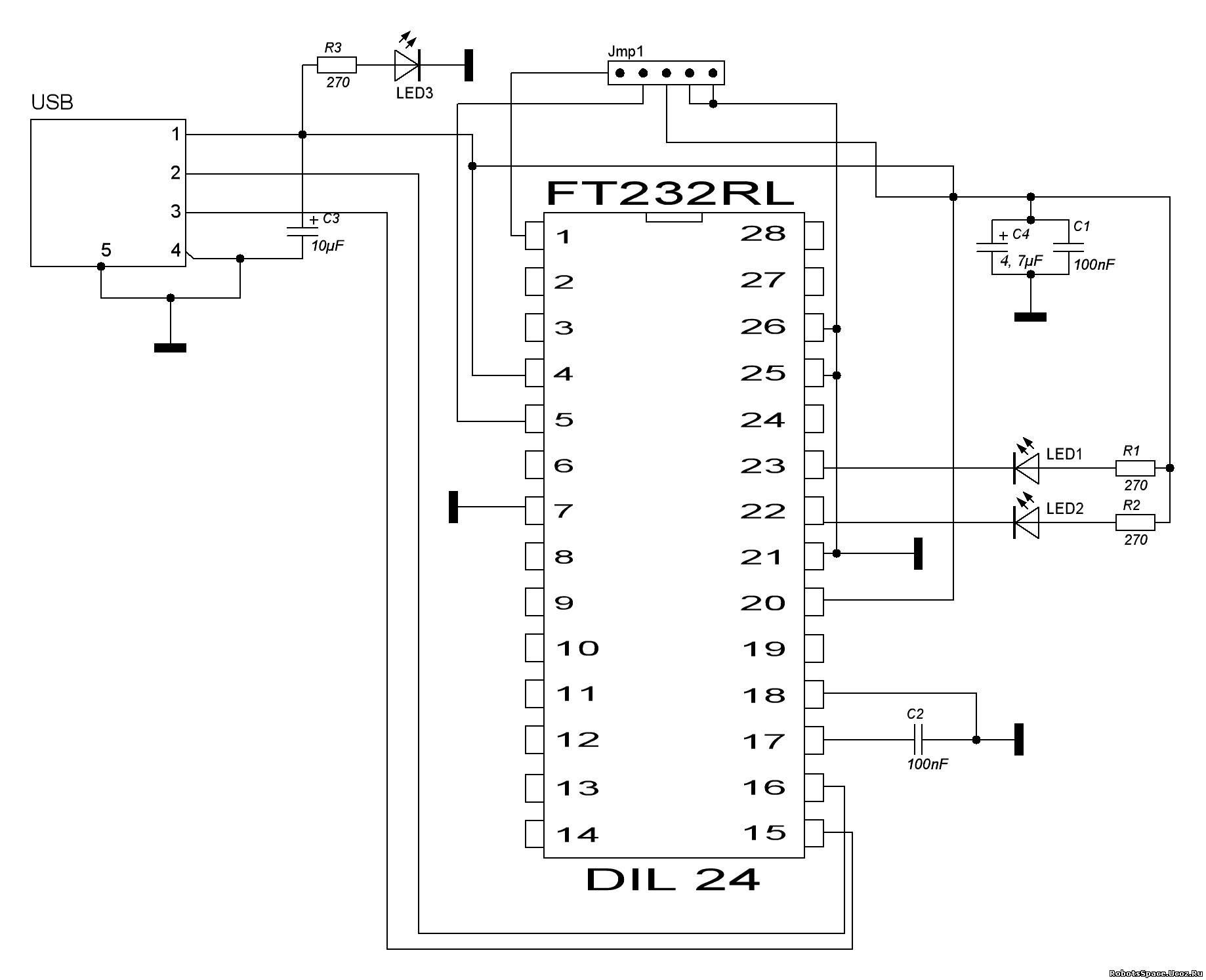 ft232bl схема uart преобразователя